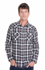 Levi's ® Mens Long Sleeve Railey Flannel Snap Western Shirt - Caviar (Closeout)