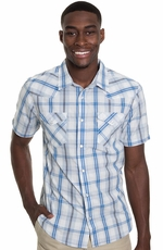 Levi's ® Mens Short Sleeve Blarney Snap Western Shirt - Light Blue