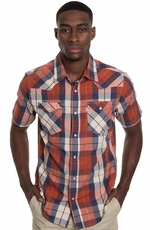 Levi's ® Mens Short Sleeve Lecter Snap Western Shirt - Blue