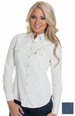 Levi's® Women's Long Sleeve Denim Snap Shirt - Medium Stonewash or White Wash