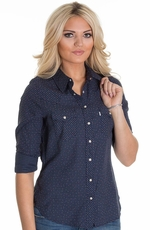 Levi's® Women's Long Sleeve Ditzy Dot Print Shirt - Navy (Closeout)