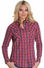 Levi's® Women's Long Sleeve Plaid Shirt - Spiced Coral (Closeout)
