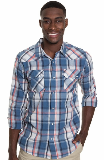 Levi's ® Mens Long Sleeve Tate Snap Western Shirt - Blue