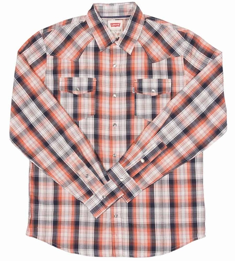 Levi's ® Mens Long Sleeve Wace Snap Western Shirt - Orange (Closeout)