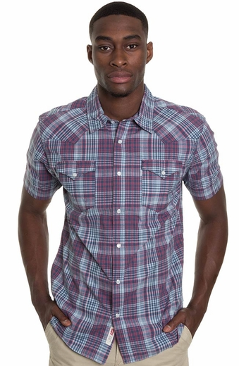 Levi's ® Mens Short Sleeve Vidal Snap Western Shirt - Dark Denim