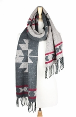 Look By M Aztec Print Scarf - Grey (Closeout)