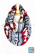Look by M Women's Navajo Knit Infinity Scarf - Burgundy or Cool Mint (Closeout)