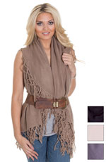 Look by M women's Tasseled Shawl Vest - Black, Cream, Grey or Taupe (Closeout)