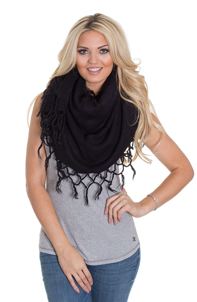 Look by M women's Tasseled Shawl Vest - Black, Cream, Grey or Taupe