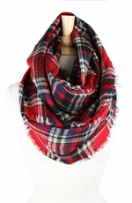 Look By M Women's Wood Plaid Infinity Scarf - Red