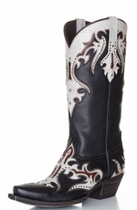 Lucchese Women's Diabla Cowgirl Boots with Swarovski Crystals - Black Amate / Aisha Bone (Closeout)