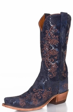 Lucchese Women's Python Print Snip Toe Cowgirl Boots with Neomi Stitching - Midnight Blue