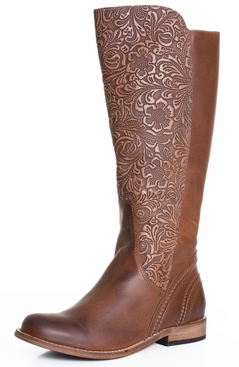 Lucchese Spirit Womens Virginia Tooled Riding Cowgirl Boots