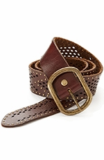 Lucky Brand McKenzie Perforated Studded Belt - Brown