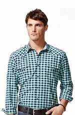 Lucky Brand Men's Del Norte Gingham Long Sleeve Plaid Snap Shirt - Turquoise (Closeout)
