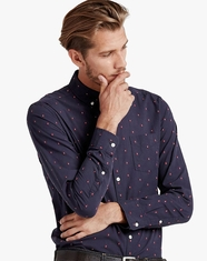 Lucky Brand Men's Long Sleeve Embroidered Button Down Shirt-Navy