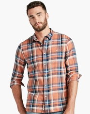 Lucky Brand Men's Long Sleeve Plaid Button Down Shirt-Orange (Closeout)