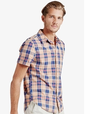 Lucky Brand Men's Short Sleeve Plaid Button Down Shirt-Orange
