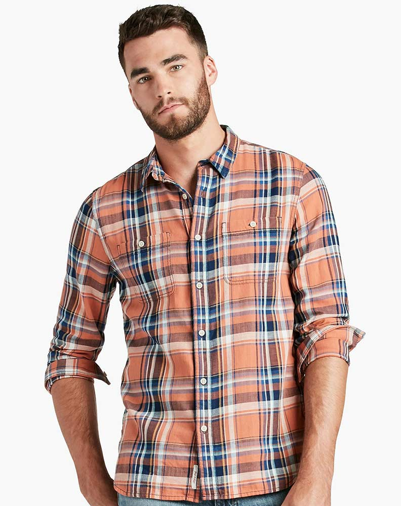 Lucky Brand Men's Long Sleeve Plaid Button Down Shirt-Orange