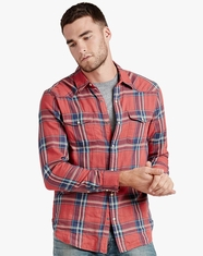 Lucky Brand Men's Long Sleeve Plaid Snap Shirt-Red