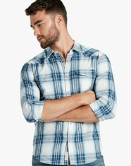 Lucky Brand Men's Long Sleeve Plaid Snap Western Shirt - Blue