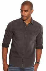 Lucky Brand Men's Long Sleeve Western Chambray Shirt - Black Shadow