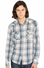 Lucky Brand Men's Long Sleeve Western Chambray Shirt - Green (Closeout)