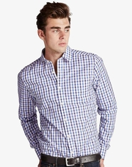 Lucky Brand Men's Long Sleeve White Label Palisades Plaid Shirt - Blue