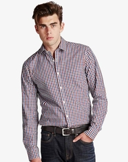 Lucky Brand Men's Long Sleeve White Label Palisades Plaid Shirt - Burgundy/Navy (Closeout)