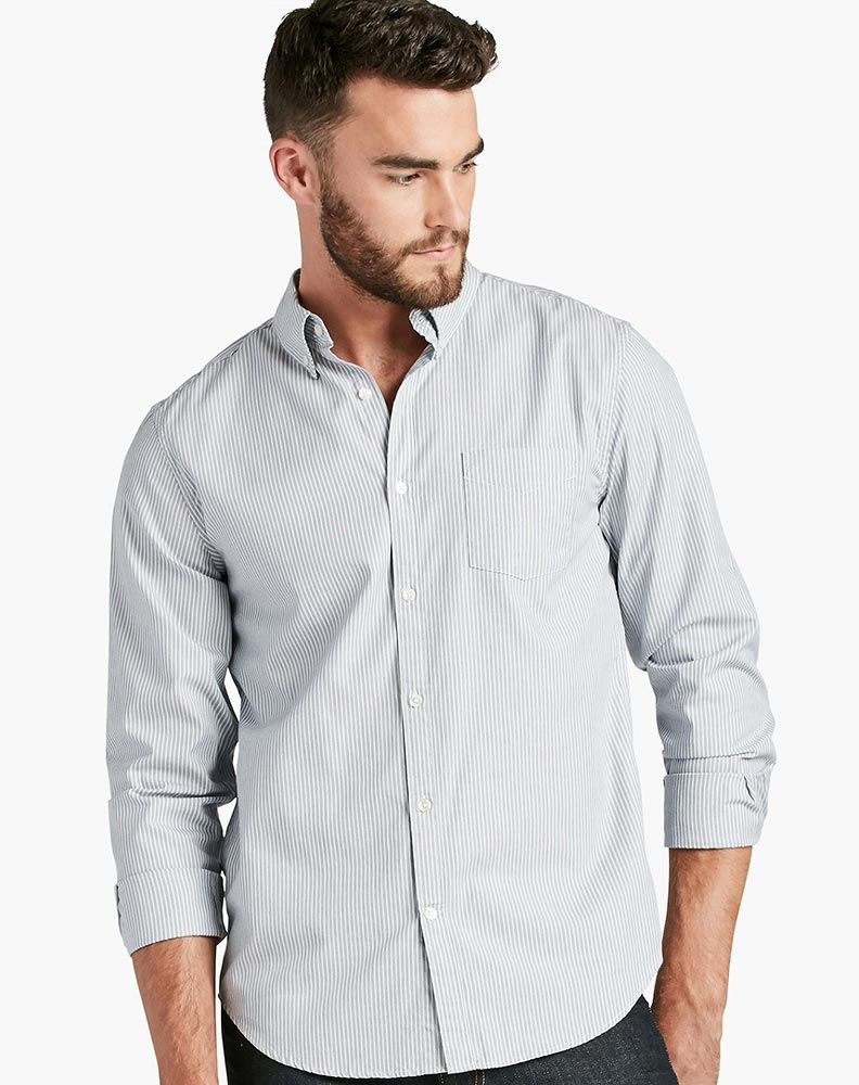 Lucky Brand Men's Long Sleeve White Label Striped Button Down ...