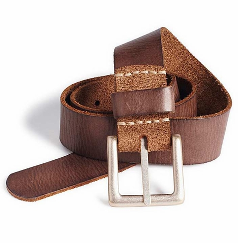 Lucky Brand Men's Newheart Leather Basic Belt - Brown
