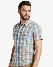 Lucky Brand Men's Short Sleeve Plaid Snap Shirt-Orange