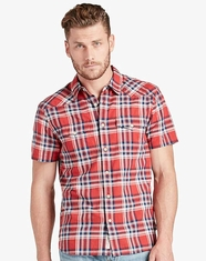 Lucky Brand Men's Short Sleeve Western Plaid Button Down Shirt - Red (Closeout)