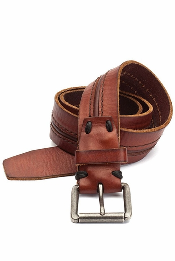 Lucky Brand Men's Stitch and Groove Leather Belt - Brown or Black