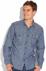 Lucky Brand Mens Coyote Hills Western Shirt - Chambray (Closeout)