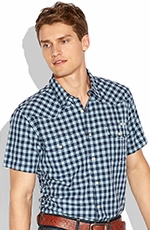 Lucky Brand Mens Haddington Button Down Gingham Western Shirt - Blue