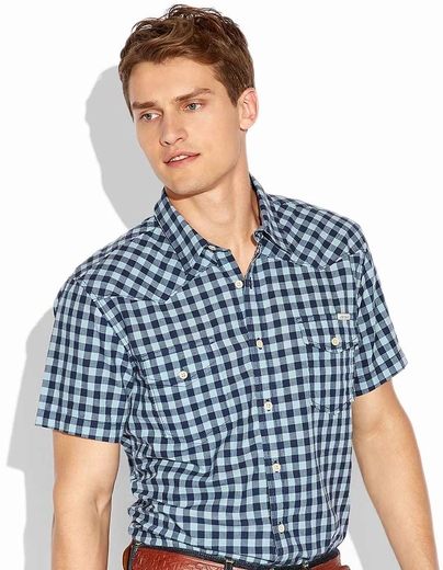 Lucky Brand Mens Haddington Button Down Gingham Western Shirt - Blue (Closeout)