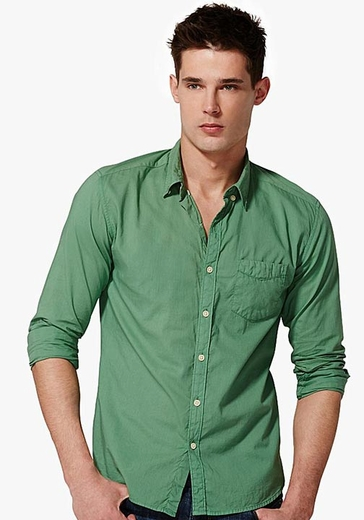 Lucky Brand Mens Long Sleeve Surf Wash Button Down Shirt - Green