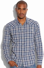 Lucky Brand Mens Powder Line Western Shirt - Navy