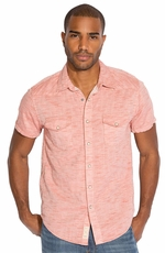 Lucky Brand Mens Short Sleeve Riley Western Shirt - Spice