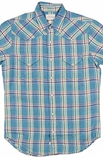 Lucky Brand Mens Short Sleeve San Mateo Western Linen Shirt - Blue/Yellow