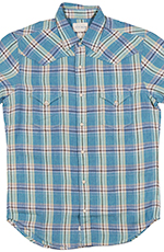 Lucky Brand Mens Short Sleeve San Mateo Western Linen Shirt - Blue/Yellow (Closeout)