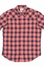 Lucky Brand Mens Short Sleeve San Mateo Western Linen Shirt - Orange/Blue