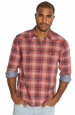 Lucky Brand Mens Trestles Plaid Western Shirt - Red