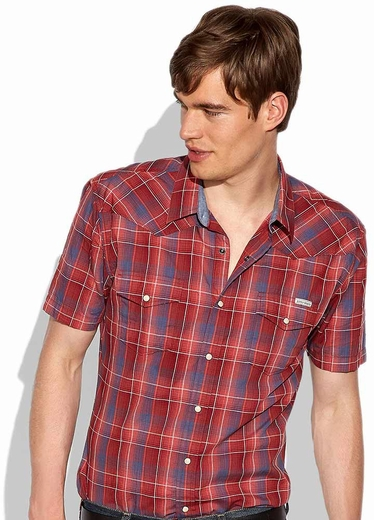 Lucky Brand Sawatch Plaid Western Shirt - Blue/Red (Closeout)
