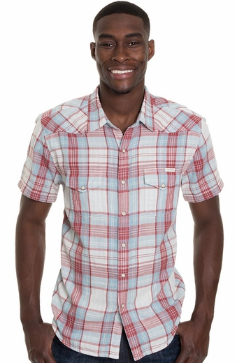 Lucky Brand Mens Short Sleeve Classic Western Shirt - White/Red/Blue (Closeout)