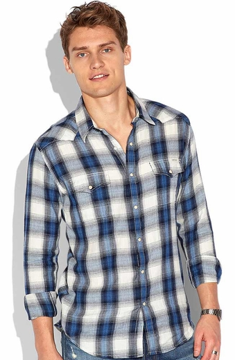 Lucky Brand Mens Spearhead Plaid Western Shirt - Blue Multi