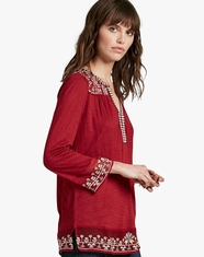 Lucky Brand Women's 3/4 Sleeve Embroidered Top - Red