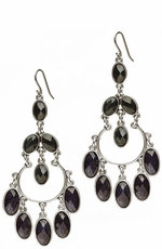 Lucky Brand Women's Blue and Green Stone Chandelier Earrings (Closeout)