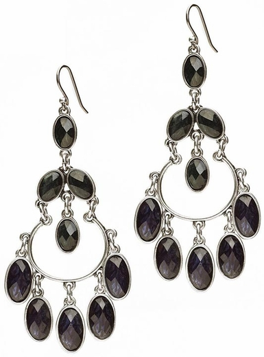 Lucky Brand Women's Blue and Green Stone Chandelier Earrings